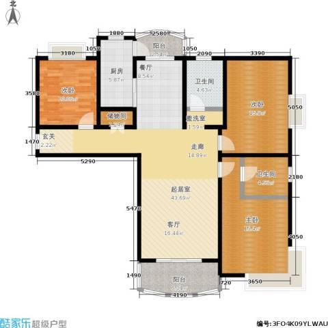 河风丽景3室0厅2卫1厨125.00㎡户型图