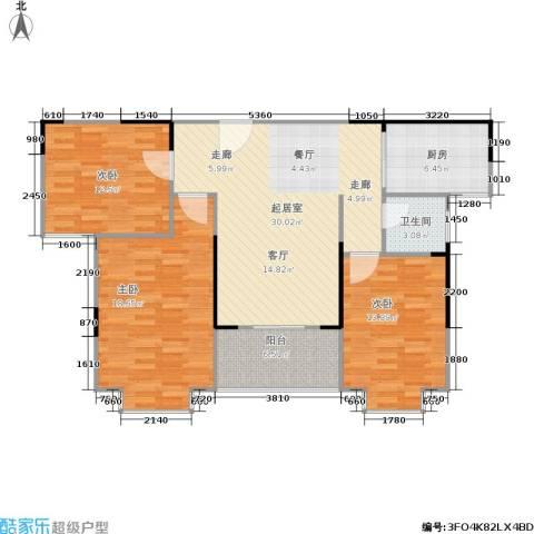 上林国际3室0厅1卫1厨97.07㎡户型图