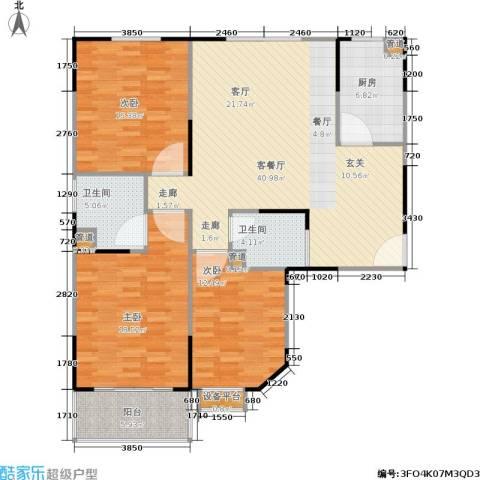 山大新苑3室1厅2卫1厨150.00㎡户型图
