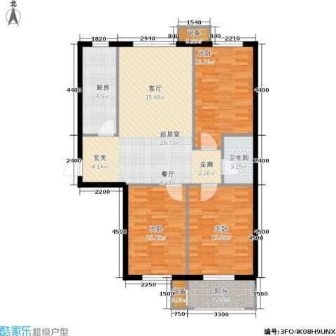 北里洋房3室0厅1卫1厨110.00㎡户型图