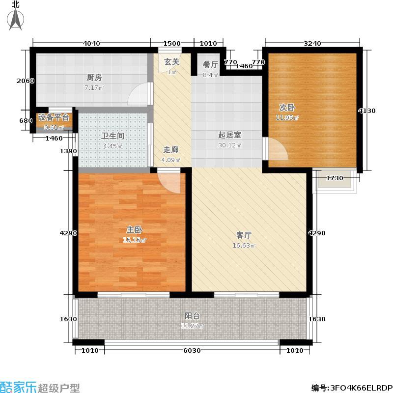 合生前滩一墅91.00㎡B户型91平米户型2室2厅1卫