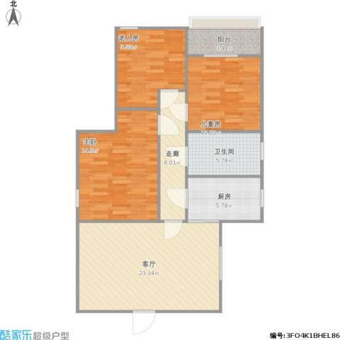 锦惠大厦3室1厅1卫1厨105.00㎡户型图