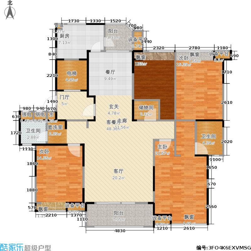 瀛通金鳌山公寓164.00㎡4室2厅2卫164.00㎡户型4室2厅2卫