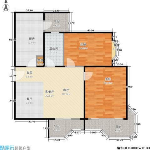 瑞南新苑2室1厅1卫1厨102.00㎡户型图