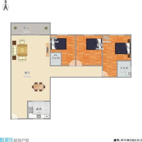 泛华大厦3室1厅2卫1厨189.00㎡户型图