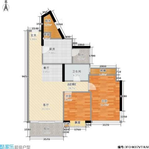 雍翠雅园2室0厅1卫1厨86.00㎡户型图