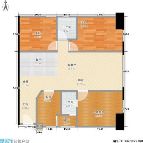 长江广场2室1厅2卫1厨84.00㎡户型图