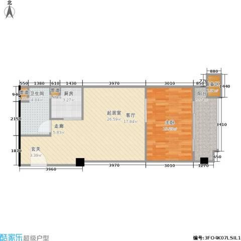 东城国际公寓1室0厅1卫1厨76.00㎡户型图