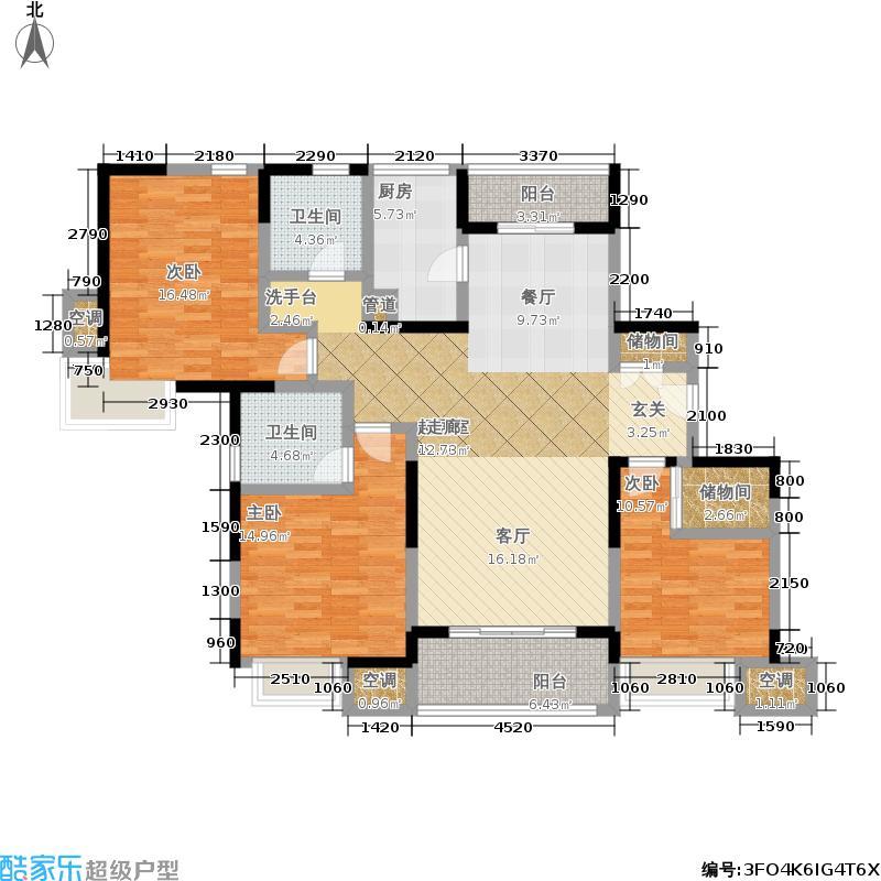 天际蓝桥137.00㎡15号02室户型 3室2厅2卫户型