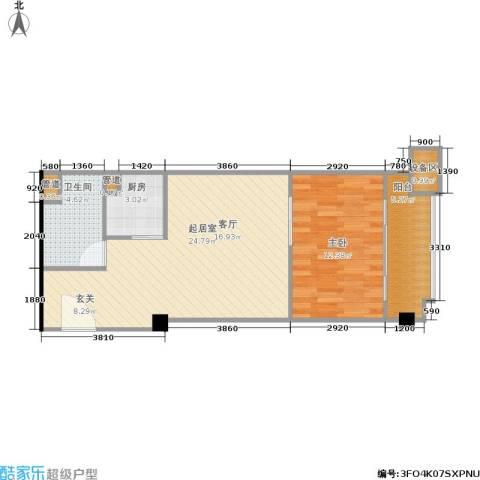 东城国际公寓1室0厅1卫1厨71.00㎡户型图