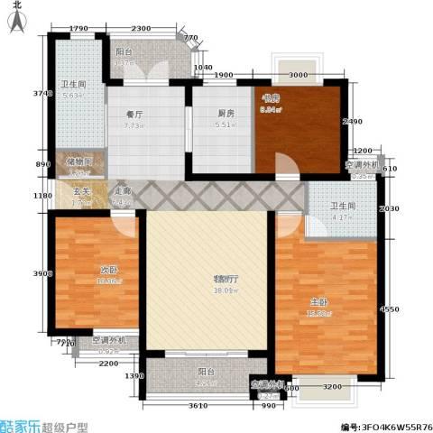 兴平昌苑3室1厅2卫1厨108.29㎡户型图