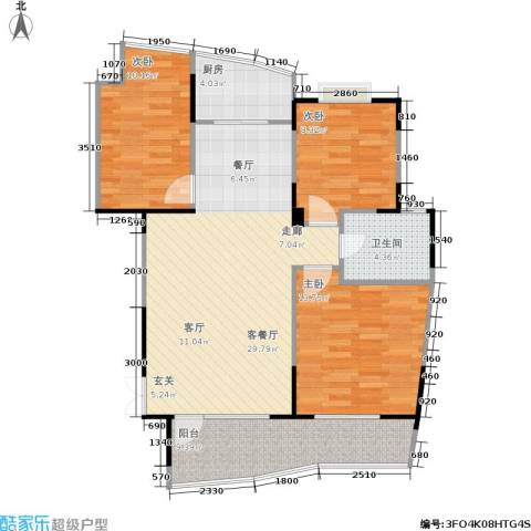 振业山水名城3室1厅1卫1厨110.00㎡户型图