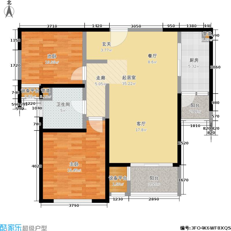 印象春城90.00㎡二房二厅一卫-91平方米-297套-南汇房地(2008)预字0814号户型