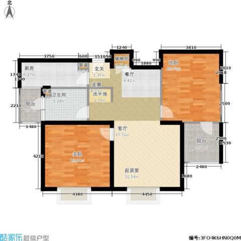 静安阳光华庭2室0厅1卫1厨96.00㎡户型图