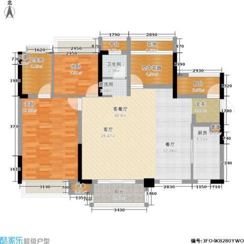 城市花园2室1厅2卫1厨120.00㎡户型图