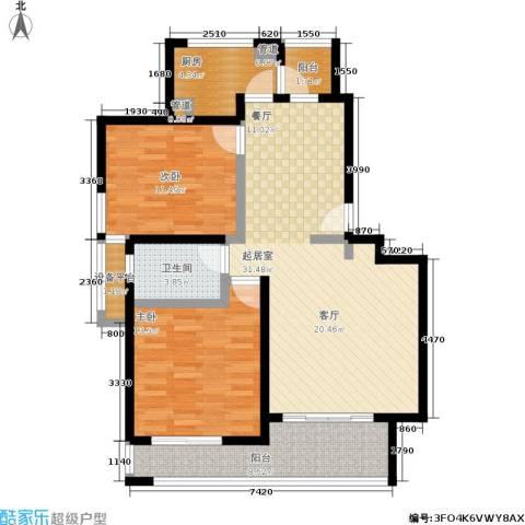 盛源家豪城2室0厅1卫1厨90.00㎡户型图