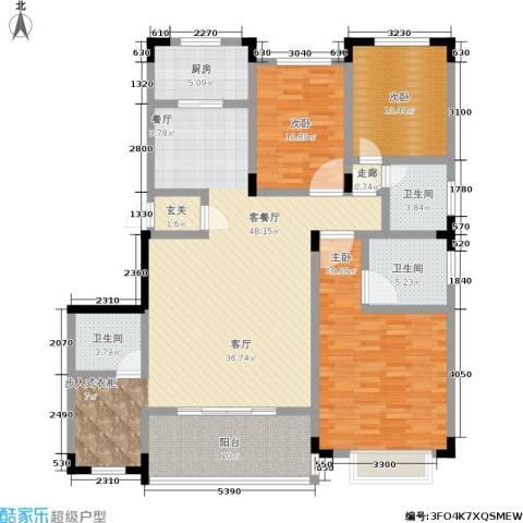 山水花都3室1厅3卫1厨174.00㎡户型图
