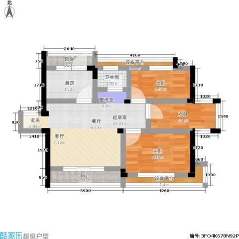 古城新境3室0厅1卫1厨67.00㎡户型图