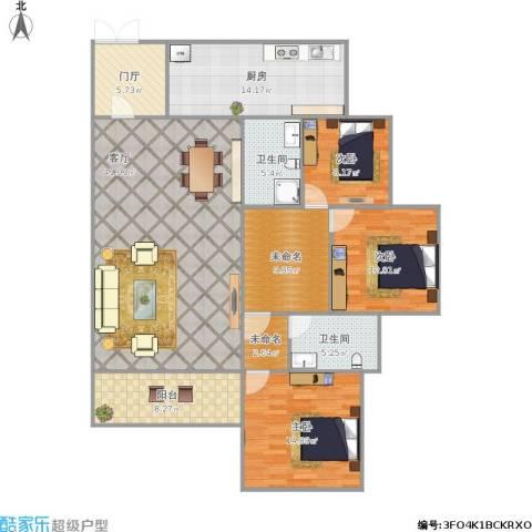 水苑3室1厅2卫1厨170.00㎡户型图