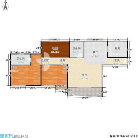 广洋华景苑3室0厅2卫1厨132.00㎡户型图