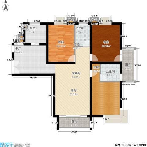 泰宸舒庭3室1厅2卫1厨117.00㎡户型图