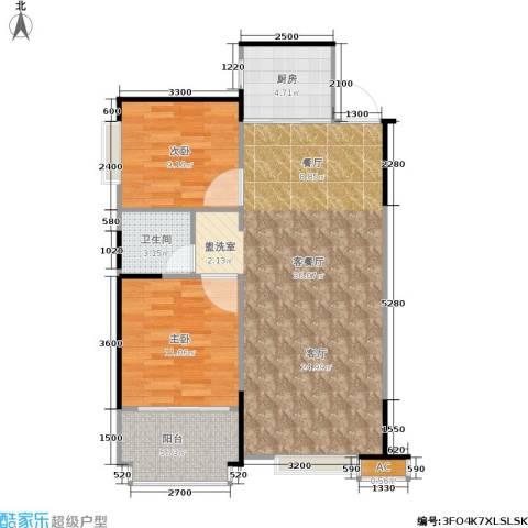东方新城2室1厅1卫1厨84.00㎡户型图