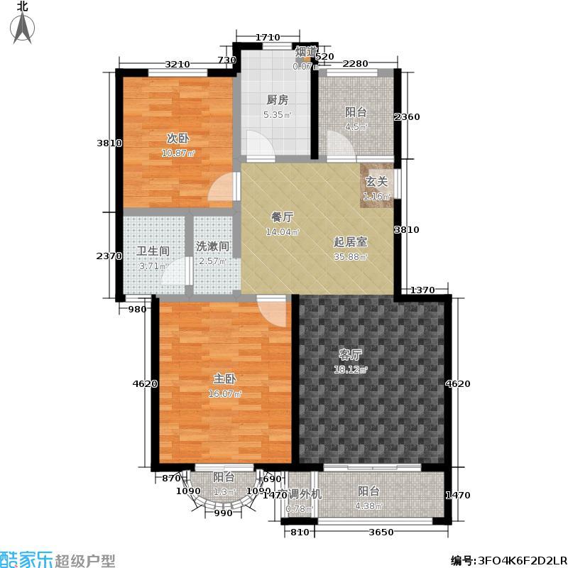 凤凰花苑2房94平米户型2室2厅1卫