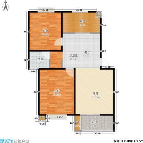 华侨绿洲2室0厅1卫1厨81.00㎡户型图