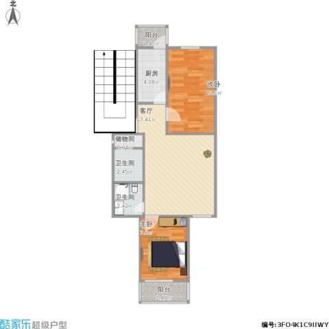 海子角东里2室1厅2卫1厨68.00㎡户型图