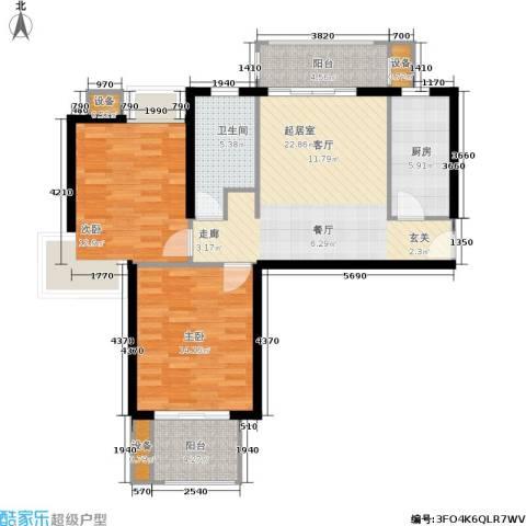 天山怡景苑2室0厅1卫1厨80.00㎡户型图