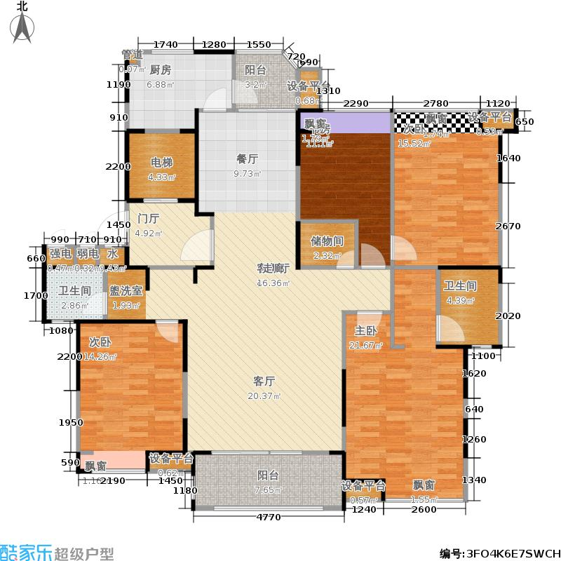 瀛通金鳌山公寓164.00㎡164平米户型4室2厅2卫