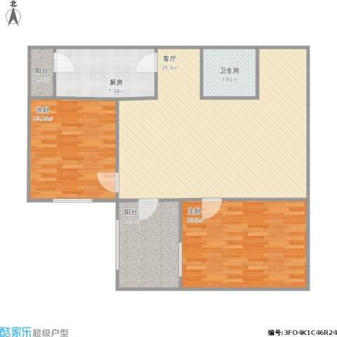 交大东路30号院2室1厅1卫1厨116.00㎡户型图