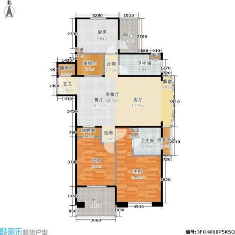 德玛公寓2室1厅2卫1厨100.00㎡户型图