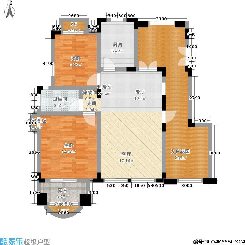 中国诺贝尔城100.00㎡北入户退台花园洋房-B5户型