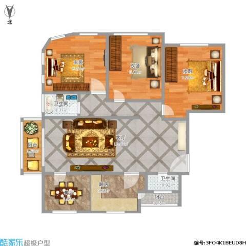 白玉兰馨园3室2厅2卫1厨67.00㎡户型图