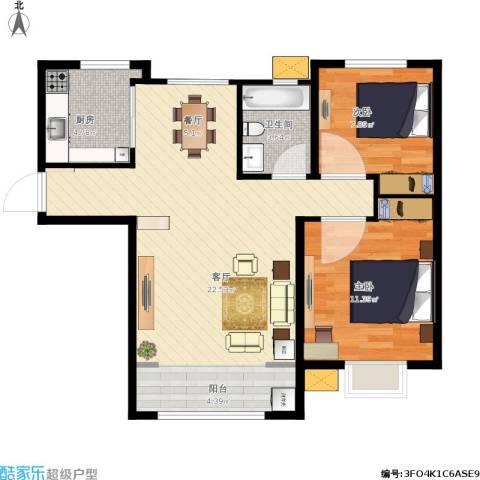 禹州尊府2室1厅1卫1厨83.00㎡户型图