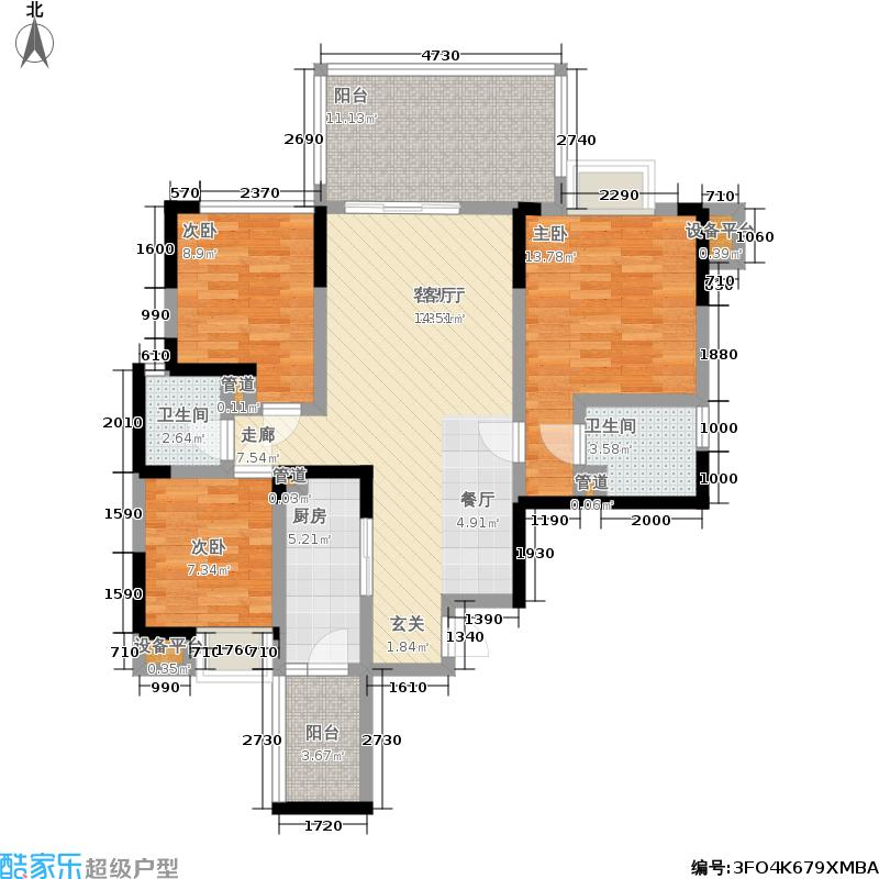 维港107.00㎡维港户型图(3/5张)户型3室2厅1卫