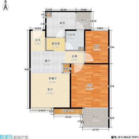 保利家园2室1厅1卫1厨85.00㎡户型图
