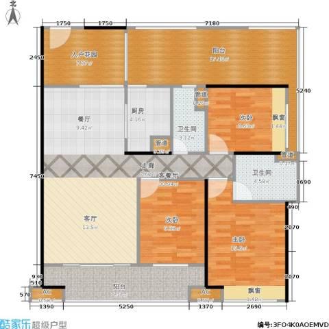 金域蓝湾 中粮万科金域蓝湾3室1厅2卫1厨120.00㎡户型图