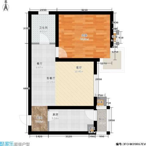心之筑1室1厅1卫1厨67.00㎡户型图