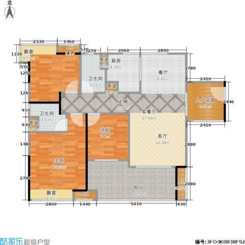 金域蓝湾 中粮万科金域蓝湾3室1厅2卫1厨99.00㎡户型图