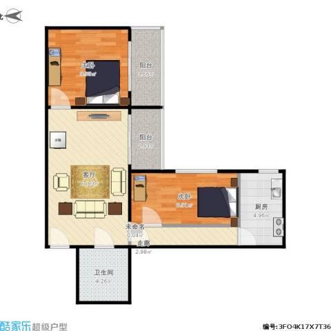 林荫大院2室1厅1卫1厨76.00㎡户型图