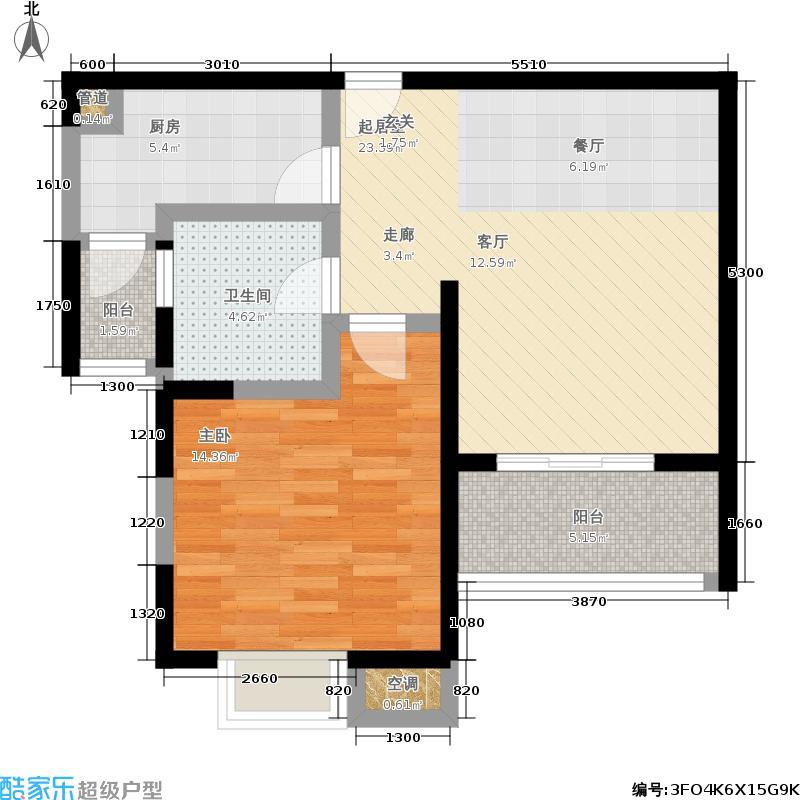 天际蓝桥65.00㎡一房二厅一卫,面积约65平方米户型