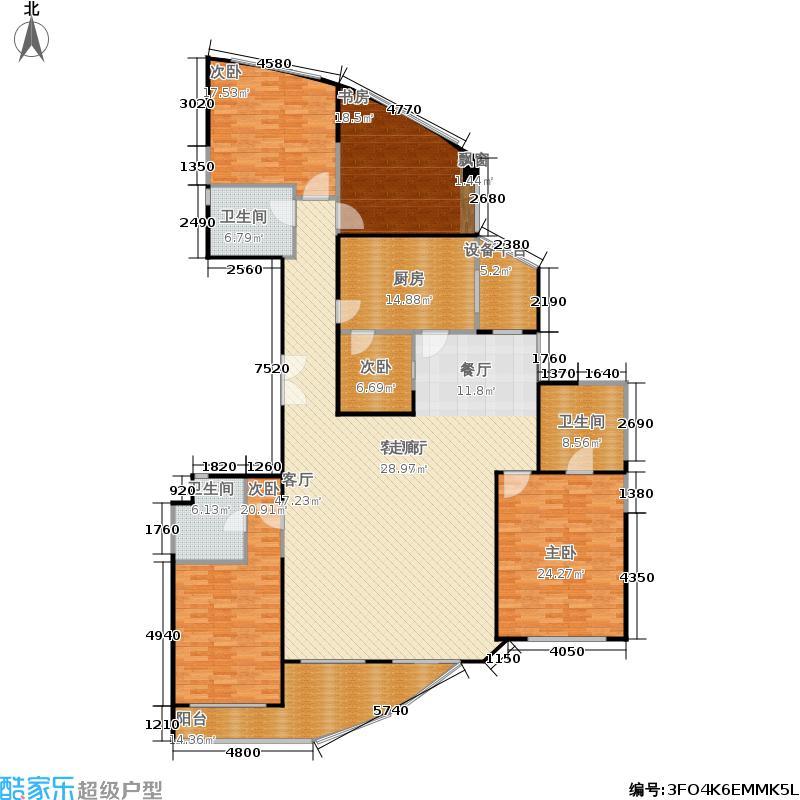 黄浦丽园245.32平米四房户型
