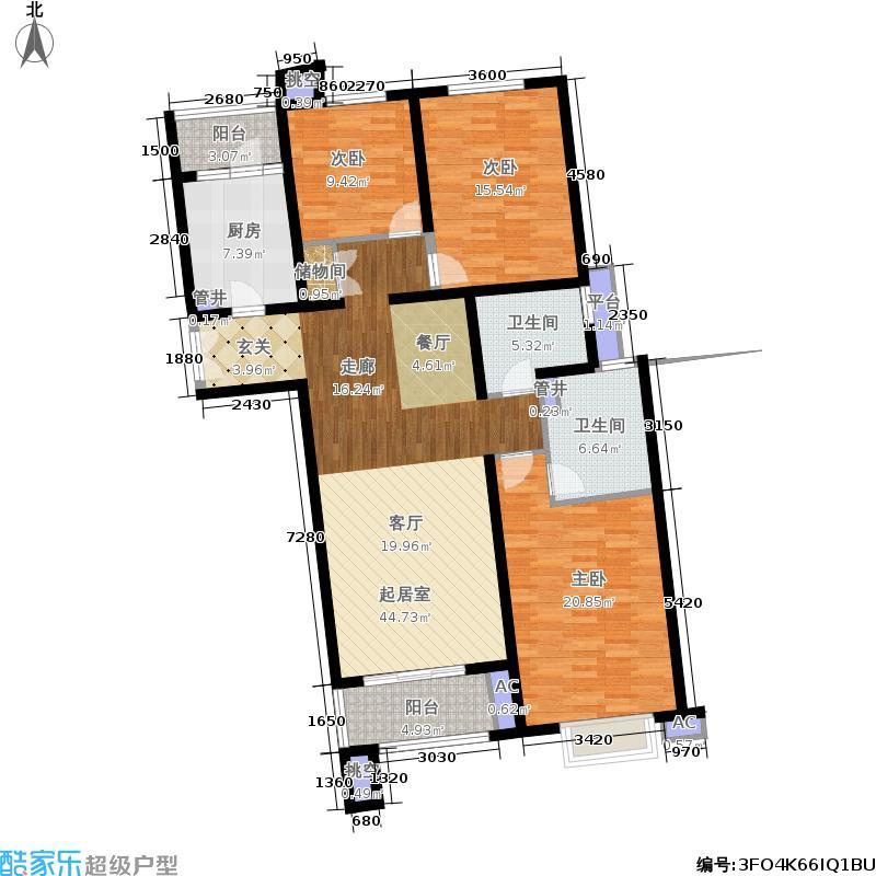 凯欣豪园3房2厅2卫,面积约139平方米户型