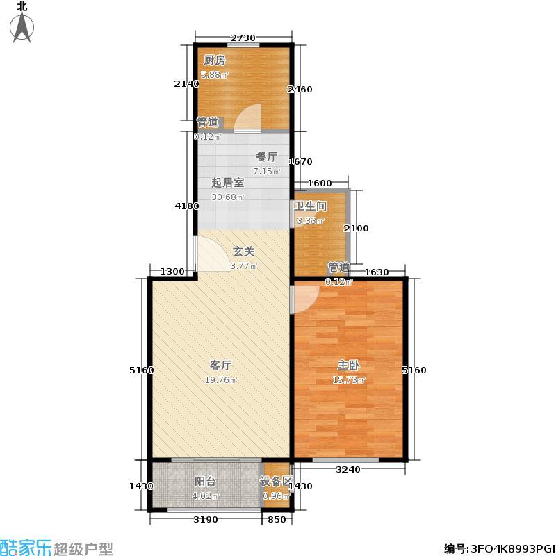 塞纳香堤65.61㎡B1一室一厅一卫户型
