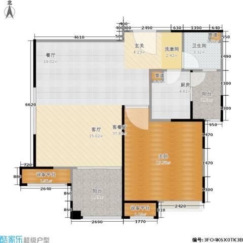 保利家园1室1厅1卫1厨83.00㎡户型图