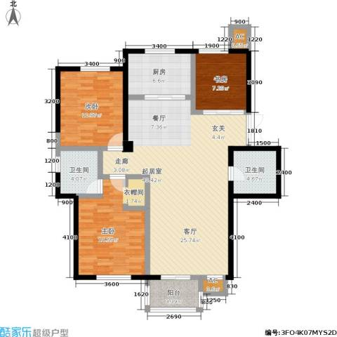 唯美品格3室0厅2卫1厨143.00㎡户型图