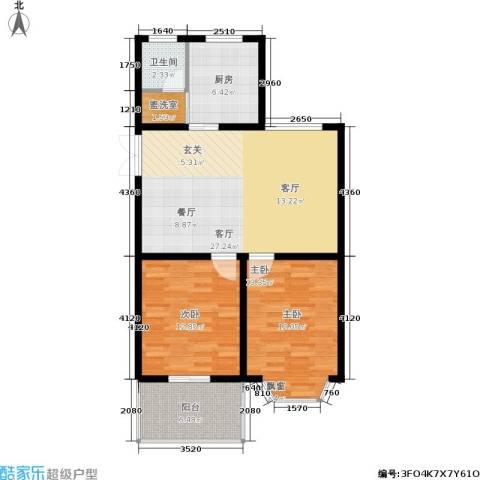都江新城2室1厅1卫1厨79.00㎡户型图