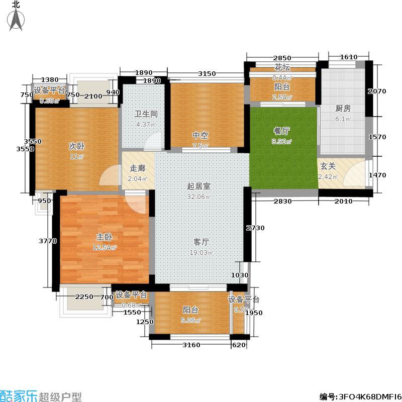 华润置地中央公园澜香雅筑户型2室1卫1厨